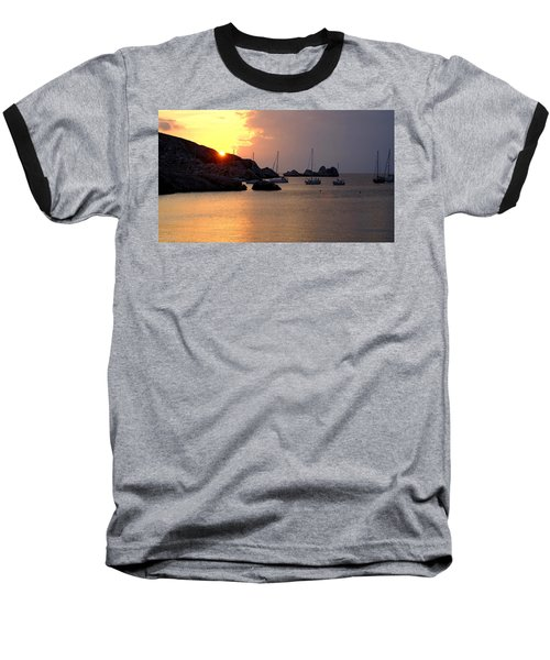 Sunset Sailing Boats Baseball T-Shirt