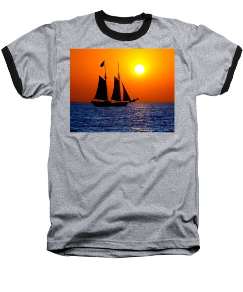 Sunset Sailing In Key West Florida Baseball T-Shirt by Michael Bessler