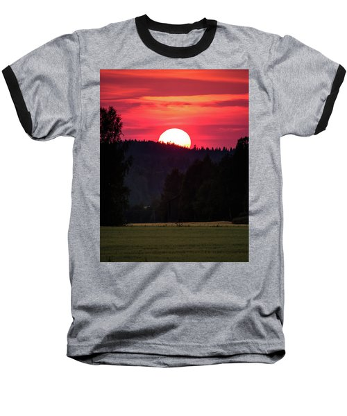 Sunset Scenery Baseball T-Shirt by Teemu Tretjakov