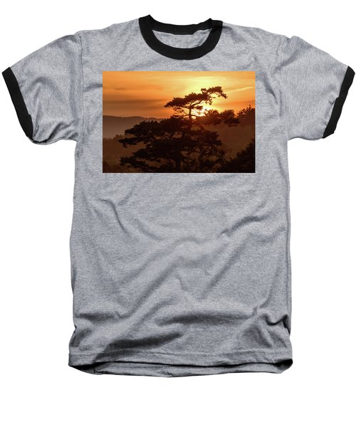 Sunset Silhouette Baseball T-Shirt by Keith Boone