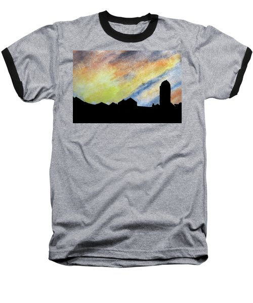 Sunset Silhouetted Farmstead Baseball T-Shirt by R Kyllo