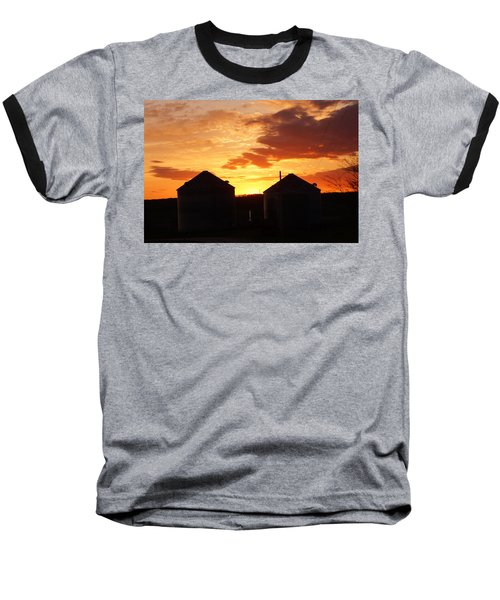 Sunset Silos Baseball T-Shirt by Jana Russon