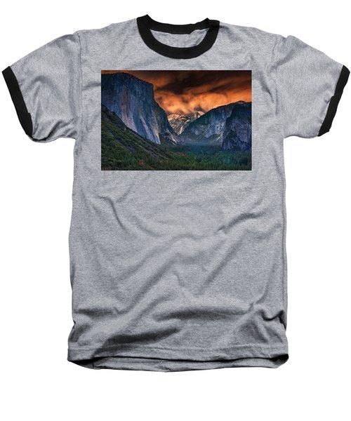 Sunset Skies Over Yosemite Valley Baseball T-Shirt by Rick Berk