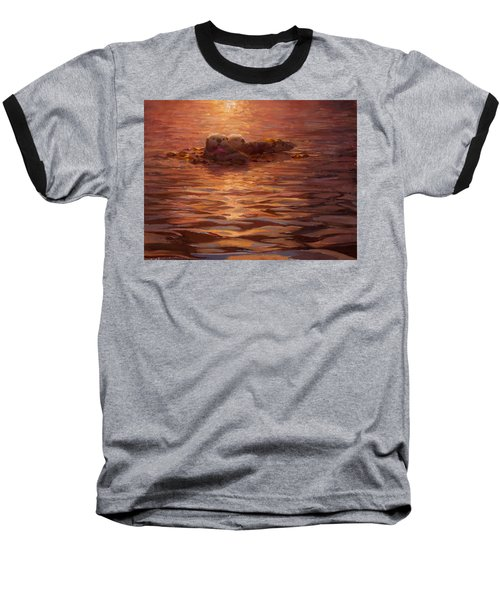Baseball T-Shirt featuring the painting Sunset Snuggle - Sea Otters Floating With Kelp At Dusk by Karen Whitworth