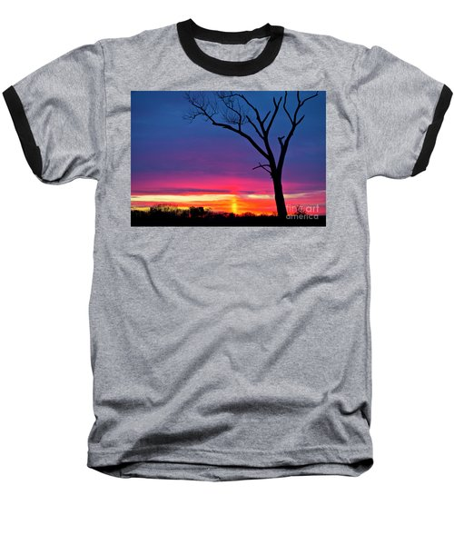 Sunset Sundog  Baseball T-Shirt by Ricky L Jones