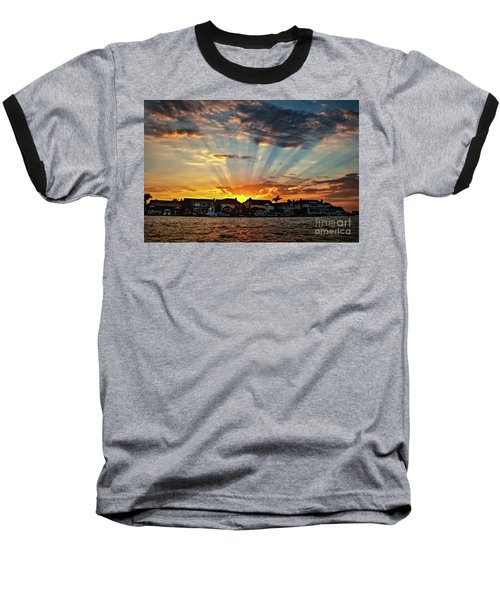 Sunset Sunrays Over Huntington Harbour Baseball T-Shirt