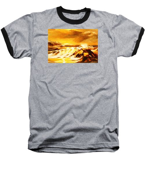 Baseball T-Shirt featuring the painting Sunset Surf by Al Brown