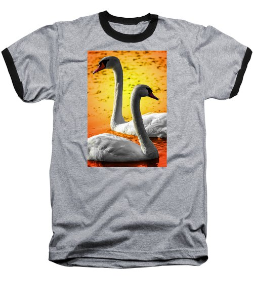 Sunset Swans 2 Baseball T-Shirt
