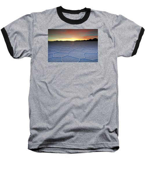 Lake Uyuni Sunset Texture Baseball T-Shirt by Aivar Mikko