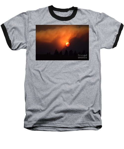 Sunset Through Smoke Baseball T-Shirt