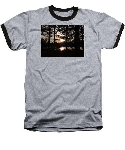 Baseball T-Shirt featuring the photograph Sunset Through The Pines by Teresa Schomig
