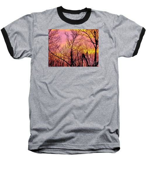 Sunset Through The Trees Baseball T-Shirt by Craig Walters
