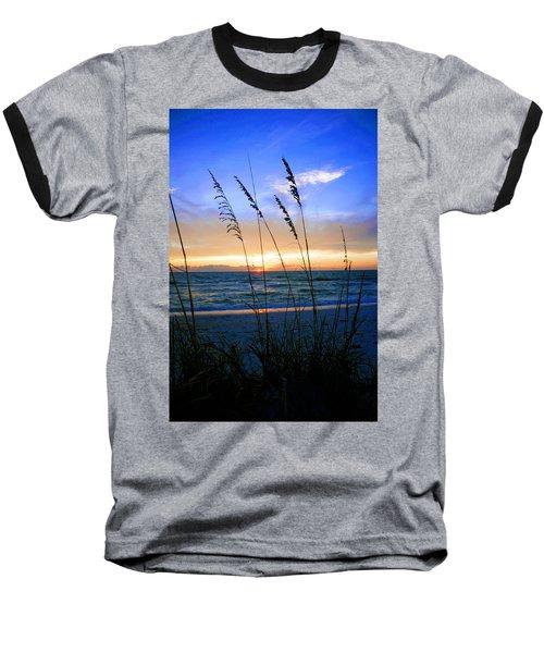 Sunset Thru The Sea Oats At Delnor Wiggins Baseball T-Shirt