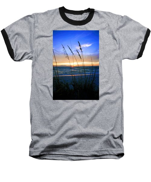 Sunset Thru The Sea Oats At Delnor Wiggins Baseball T-Shirt