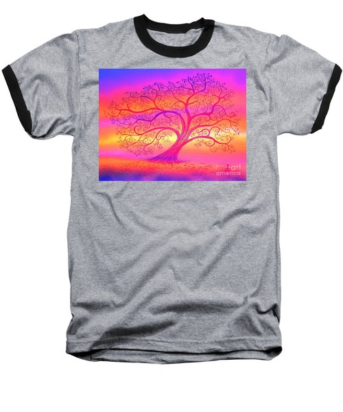 Baseball T-Shirt featuring the painting Sunset Tree Cats by Nick Gustafson