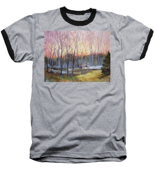 Sunset Trees Baseball T-Shirt by Irek Szelag