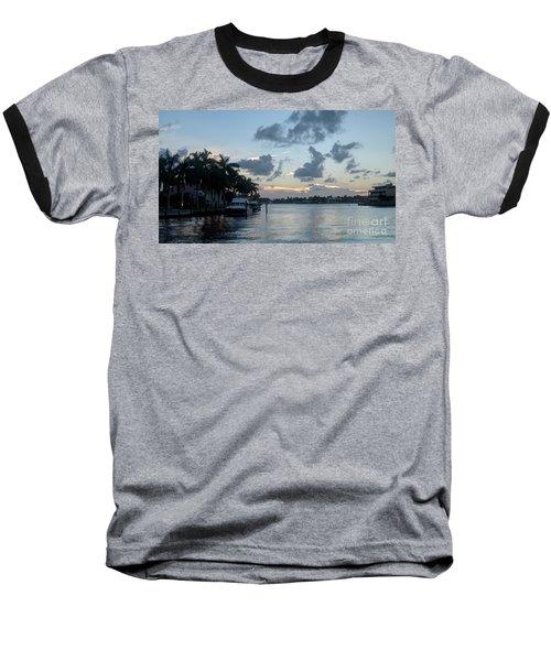 Sunset Tropical Canal Baseball T-Shirt