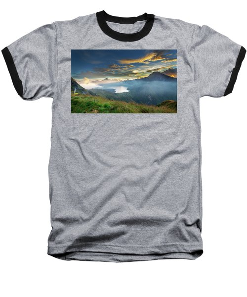 Sunset View From Mt Rinjani Crater Baseball T-Shirt