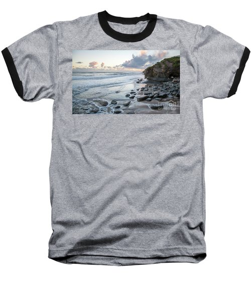 Sunset View In The Distance With Large Rocks On The Beach Baseball T-Shirt