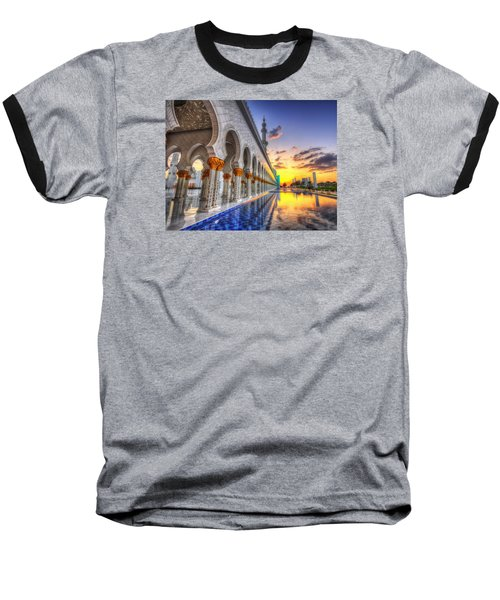 Baseball T-Shirt featuring the photograph Sunset Water Path Temple by John Swartz