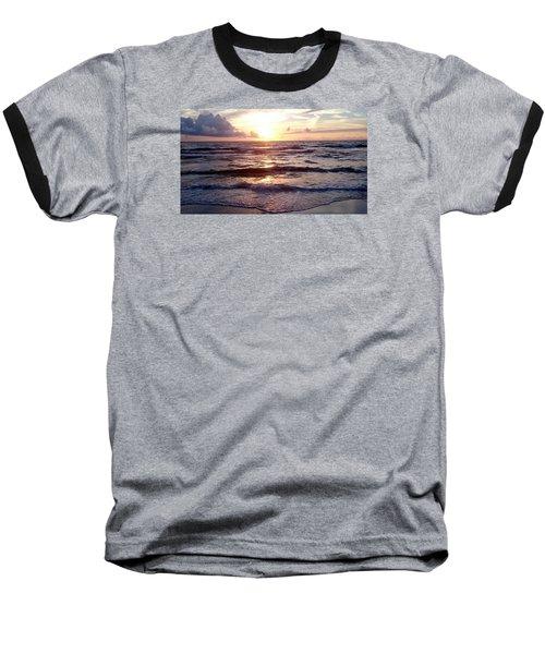 Baseball T-Shirt featuring the photograph Sunset Waves 1 by Vicky Tarcau