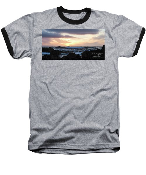 Sunset Waves, Asilomar Beach, Pacific Grove, California #30431 Baseball T-Shirt