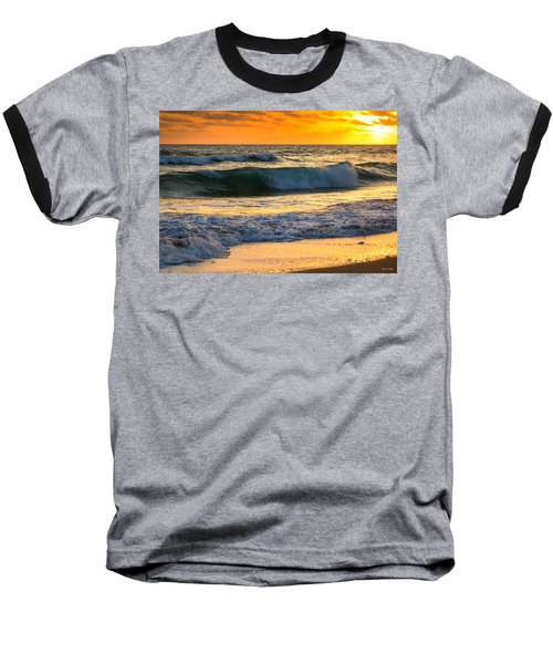 Sunset Waves Baseball T-Shirt by Rebecca Hiatt