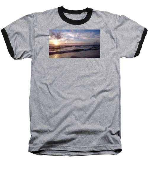Baseball T-Shirt featuring the painting Sunset Waves  by Vicky Tarcau