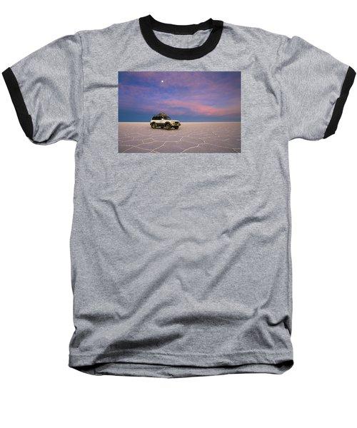Lake Uyuni Sunset With Car Baseball T-Shirt by Aivar Mikko