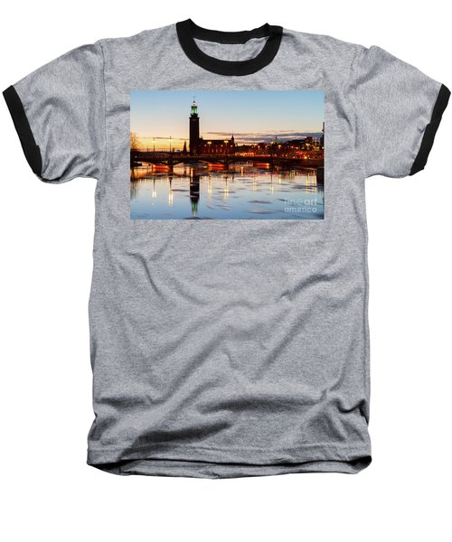Sunset With Cityhall Of Stockholm Baseball T-Shirt by Anastasy Yarmolovich