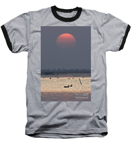 Sunset With Coots Baseball T-Shirt