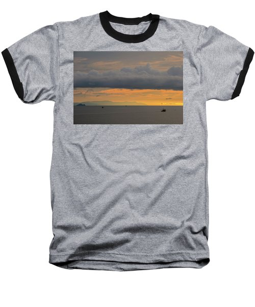 Sunset With Fishing Boats At Sea Baseball T-Shirt