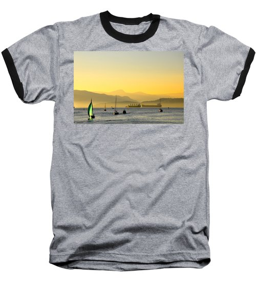 Sunset With Green Sailboat Baseball T-Shirt