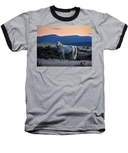 Sunset With Wild Stallion Tripod In Sand Wash Basin Baseball T-Shirt