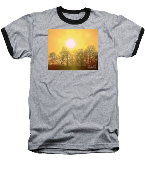 Baseball T-Shirt featuring the photograph Sunset Yellow Orange by Shirley Moravec