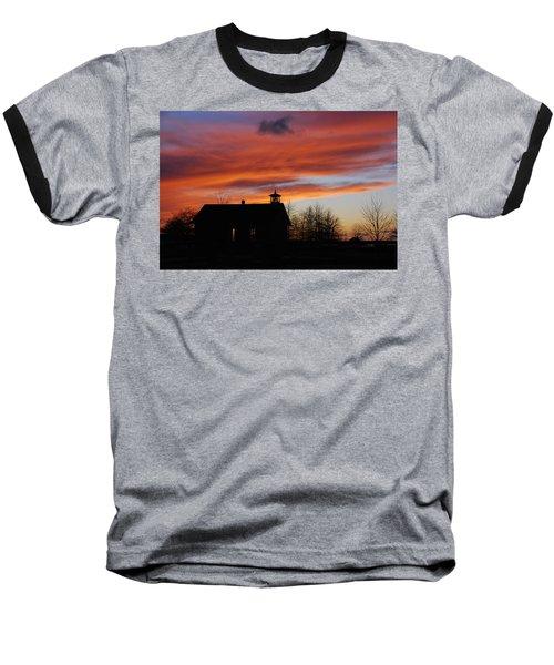 Sunsetting Behind The Historic Schoolhouse. Baseball T-Shirt