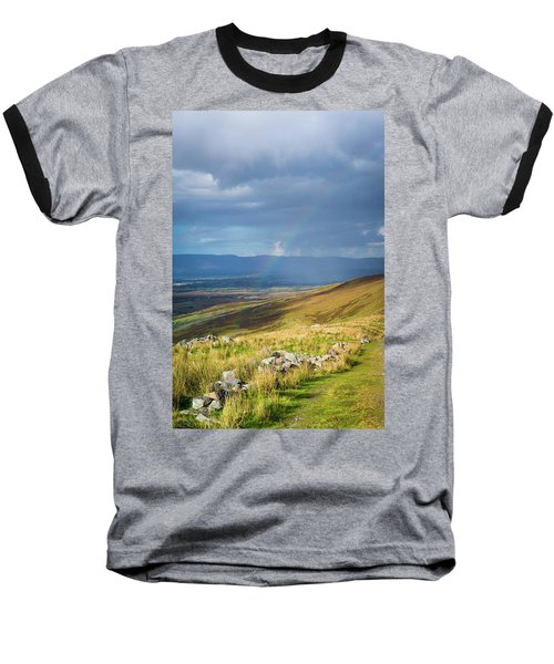 Sunshine And Raining Down With Rainbow On The Countryside In Ire Baseball T-Shirt by Semmick Photo