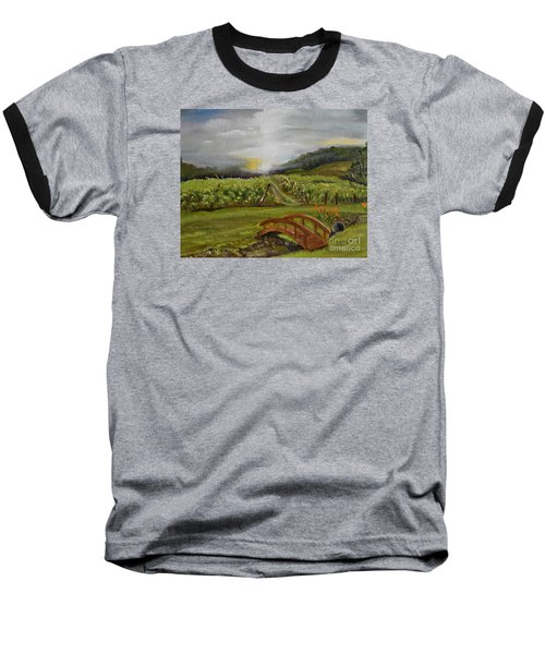 Baseball T-Shirt featuring the painting Sunshine Bridge At The Cartecay Vineyard - Ellijay Ga - Vintner's Choice by Jan Dappen