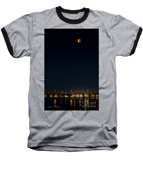 Super Blood Moon Over Ventura, California Pier Baseball T-Shirt