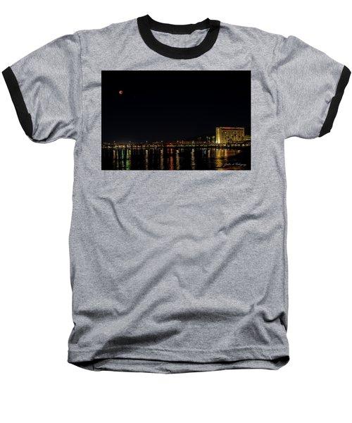 Super Blue Blood Moon Over Ventura, California Pier  Baseball T-Shirt