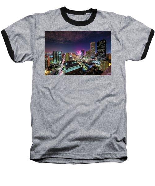 Super Bowl Li Down Town Houston Fireworks Baseball T-Shirt