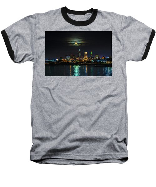 Super Full Moon Over Cleveland Baseball T-Shirt