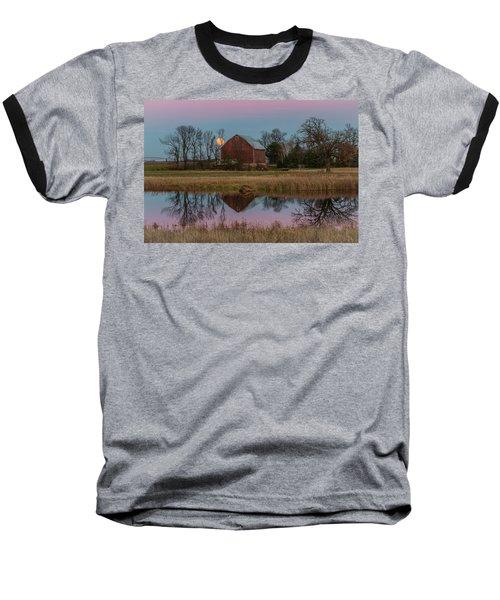 Super Moon And Barn Series #1 Baseball T-Shirt