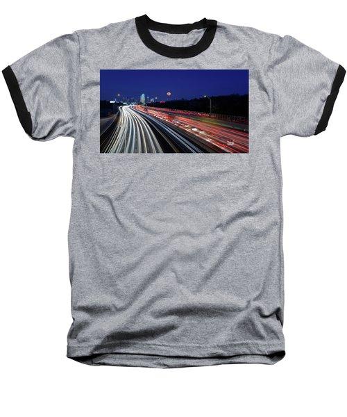Super Moon And Dallas Texas Skyline Baseball T-Shirt