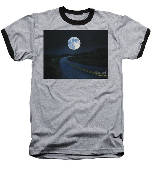 Super Moon At The End Of The Road Baseball T-Shirt
