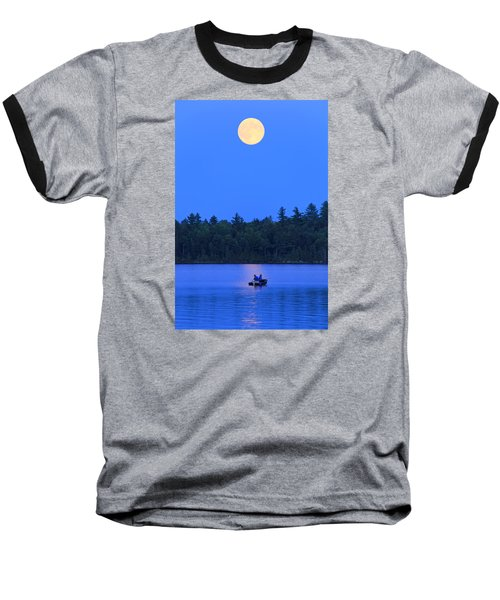 Baseball T-Shirt featuring the photograph Super Moon At The Lake by Barbara West
