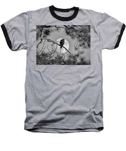 Super Moon Hawk Baseball T-Shirt by Kevin Munro