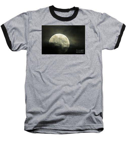 Super Moon In Clouds Baseball T-Shirt