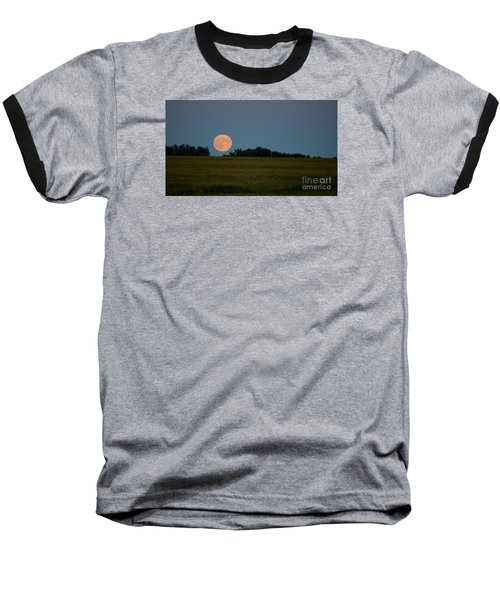 Baseball T-Shirt featuring the photograph Super Moon Over A Bean Field by Mark McReynolds