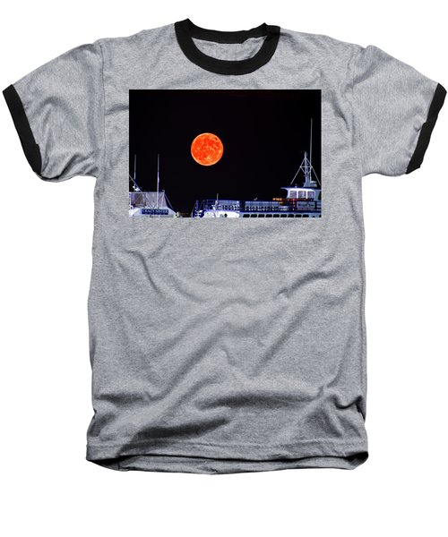 Super Moon Over Crazy Sister Marina Baseball T-Shirt by Bill Barber